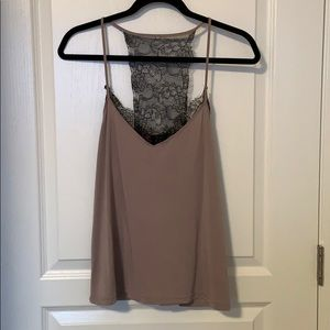 Dynamite Taupe Tank Top with Black Lace Detailing